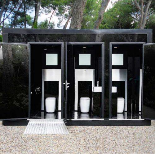 bagno mobile per eventi disabile di lusso visione con porte aperte