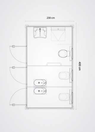 piantina in scala bagno mobile disabile più due bagni