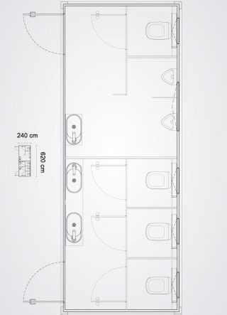 bagno mobile con quattro cabine bagno e due orinatoi pianta in scala del prodotto