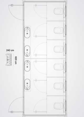 bagno mobile con sei cabine bagno pianta in scala del prodotto