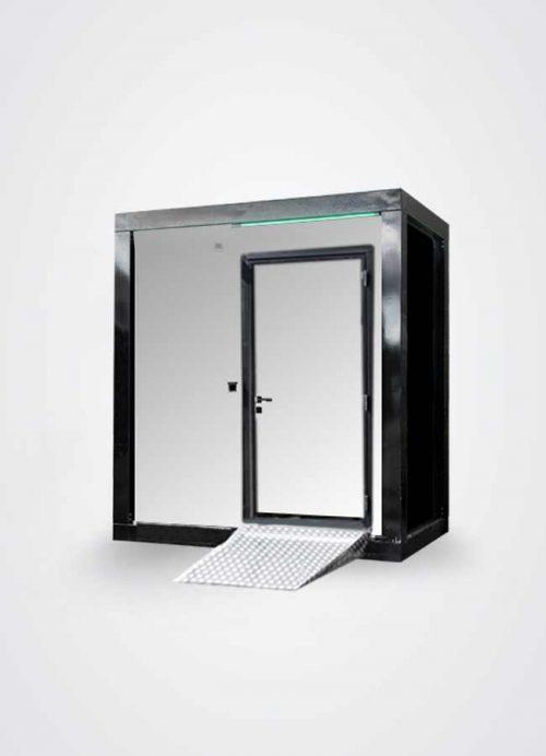 Bagno compatto per disabili in colore silver mirror