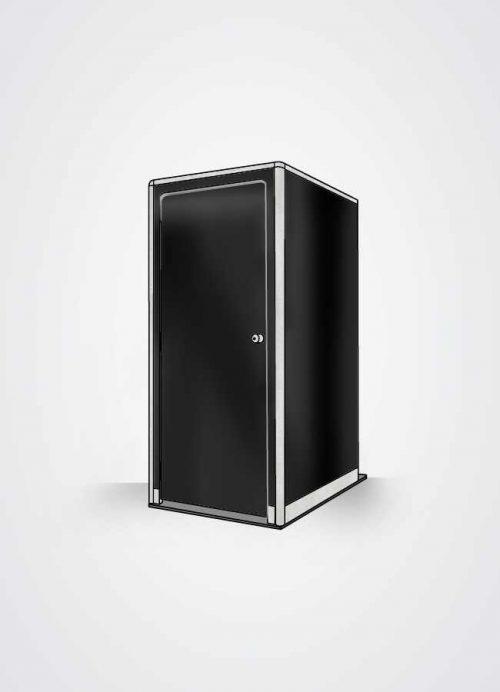 cabina bagno in scocca esterna colore nero lucido