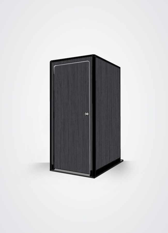 cabina bagno in scocca esterna colore legno nero