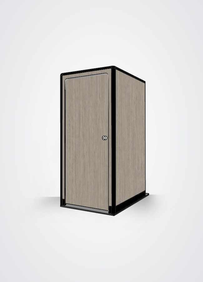 cabina bagno in scocca esterna colore legno bianco