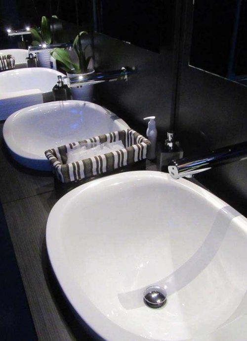 Vista laterale moduli lavabo singolo