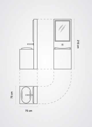 Piantina lavabo modulare singolo