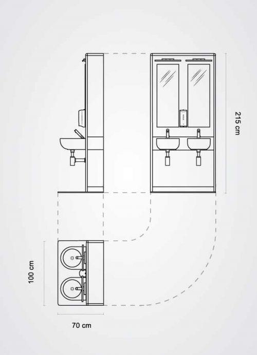 pianta del modulo a doppio lavabo della linea MODO