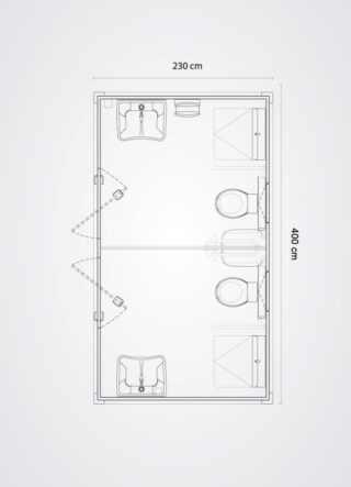 piantina tecnica doppio bagno mobile per disabili